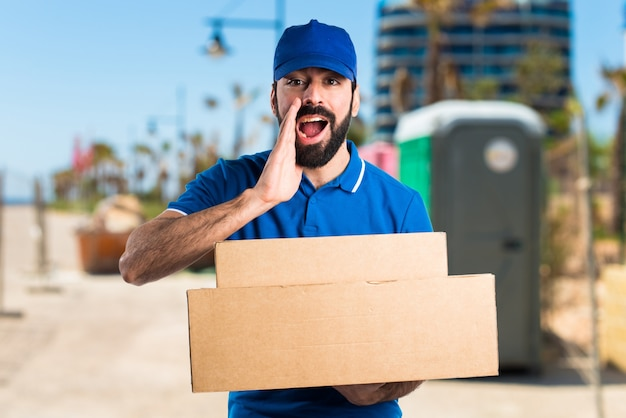 Delivery uniform boy work courier Free Photo