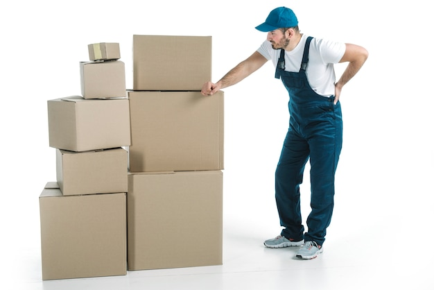 Deliveryman with sore back Free Photo