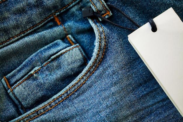 Denim blue jeans stack closeup. Premium Photo