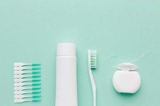 Dental care kit arrangement top view Free Photo