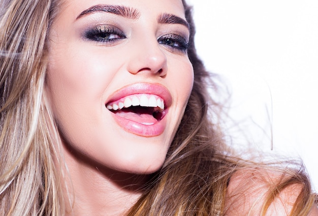 Dental concept, beauty woman white teeth. dental whiten smile concept. open mouth and healthy toothy Premium Photo