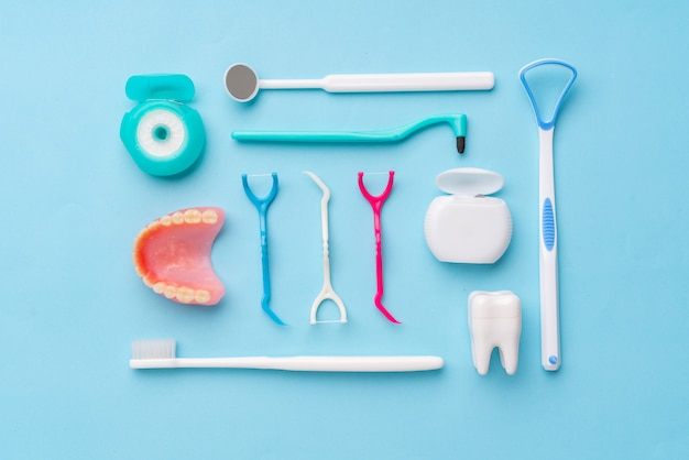 Dental equipments from the top view, flat lay in the studio Premium Photo