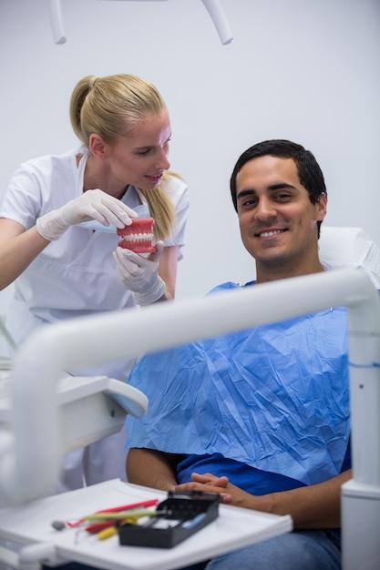 Стоматолог показывает пациенту набор модельных зубов Бесплатные Фотографии