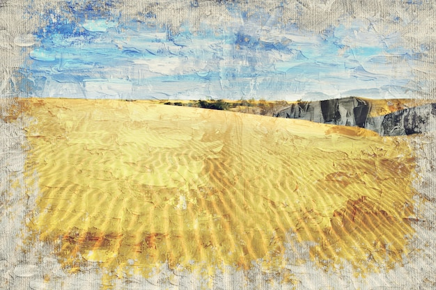 Desert sand dune, india. digital art impasto oil painting by photographer Premium Photo