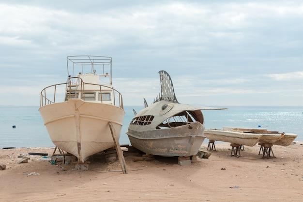 Deserted fishing boats Free Photo