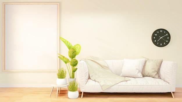 ロフトルームインテリア、オレンジ色のレンガの壁design.3dレンダリングのポスターフレーム、白いソファ Premium写真