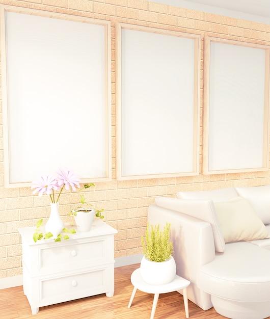 ポスターフレームロフトルームインテリア、レンガの壁のdesign.3dレンダリングに黄色のソファ Premium写真