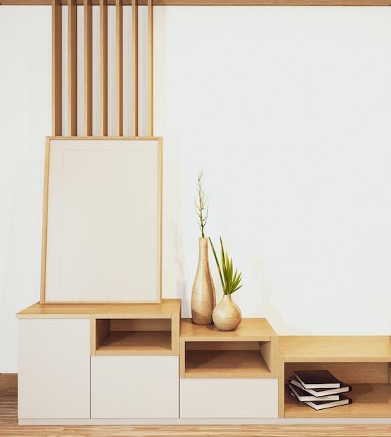 Design cabinet shelf wooden japanese style on empty room minimal .3d rendering Premium Photo