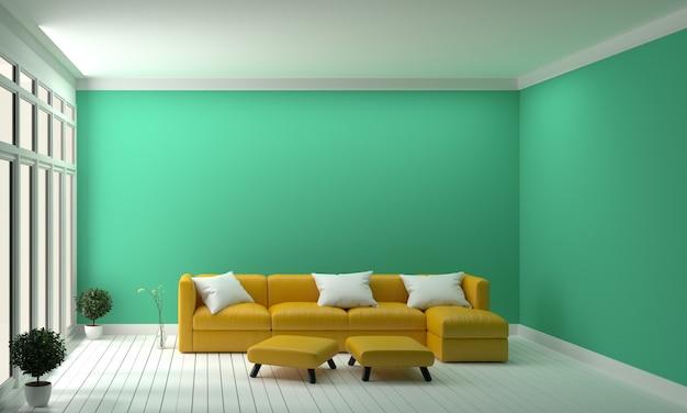 Design concept yellow sofa on mint wall modern interior .3d ...