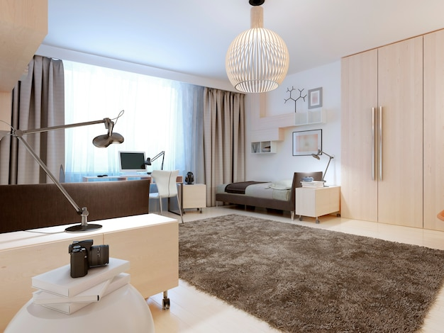 Design of contemporary bedroom of white walls and ceiling and light wood flooring. Premium Photo