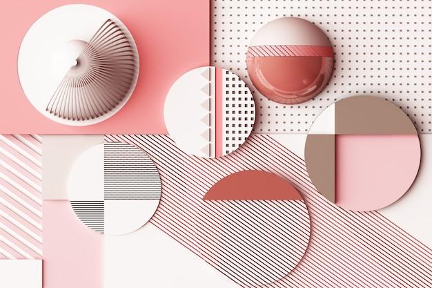 파스텔 핑크 톤 3d 렌더링 그림의 기하학적 인 도형으로 디자인 프리미엄 사진