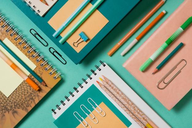 Desk arrangement top view Premium Photo