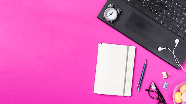 Desk workspace with various elements Free Photo