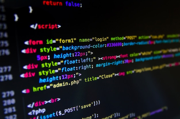 Desktop source code and wallpaper by computer language with coding and programming. Premium Photo