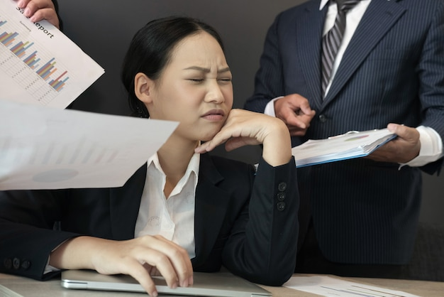 Desperate Businesswoman Overwhelmed With Hard Work