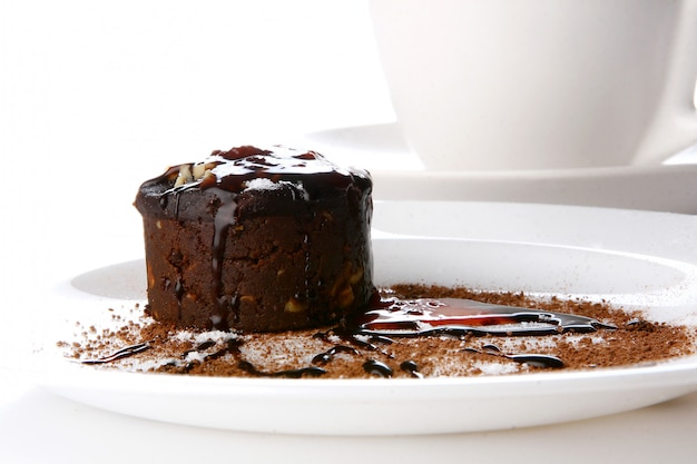 Dessert cake with chocolate and jam Free Photo