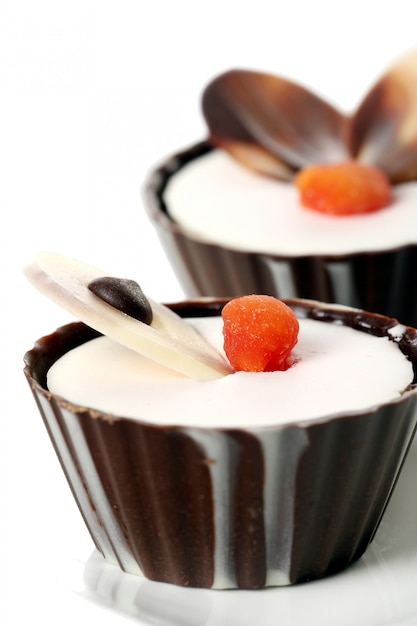 A dessert fruit cake with chocolate Free Photo