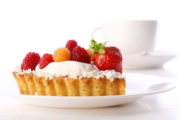 Dessert fruitcake cake with coffee Free Photo