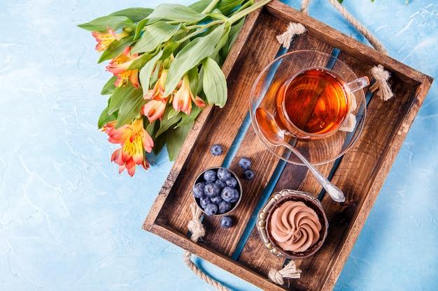 Dessert with blueberries, cup Premium Photo