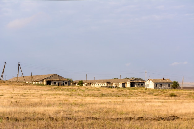 Destroyed farm. abandoned by humans. abandoned destroyed houses. abandoned villages in cri Premium Photo
