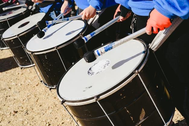 Detail of bass sound drums. Premium Photo
