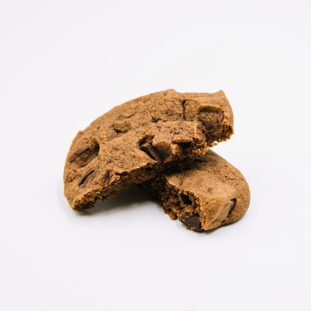 Detail of chocolate cookies on white background Free Photo