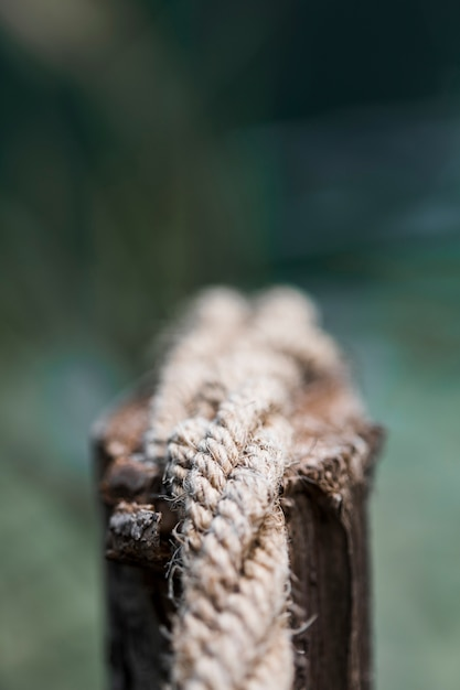 Detail of an old frayed boat rope on wooden post Free Photo