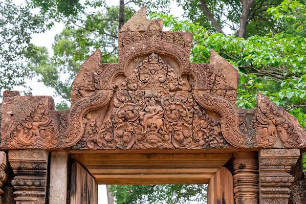Detail of one of the multiple reliefs of the temple of banteay srei. angkor. cambodia Premium Photo