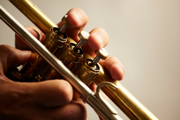 Detail of a trumpet metal instrument Free Photo