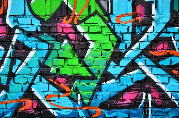 Detailed image of color graffiti drawing. Premium Photo