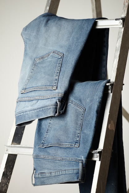 The details of blue jeans fabric Free Photo