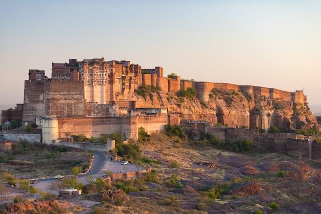 Details of jodhpur fort at sunset. Premium Photo