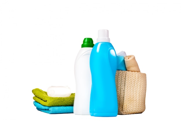 Detergent in blue and white plastic bottles Premium Photo