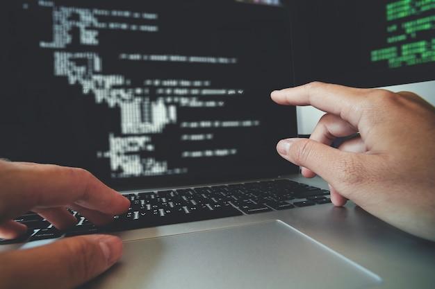 Developing programmer development website design and coding technologies working Premium Photo
