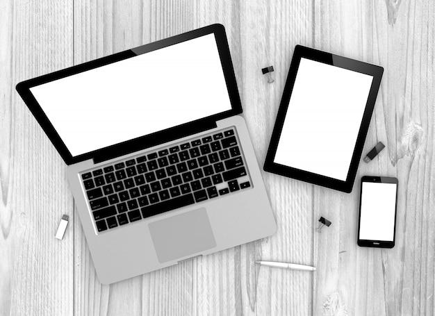 Devices top view macbook pro, ipad and iphone Premium Photo