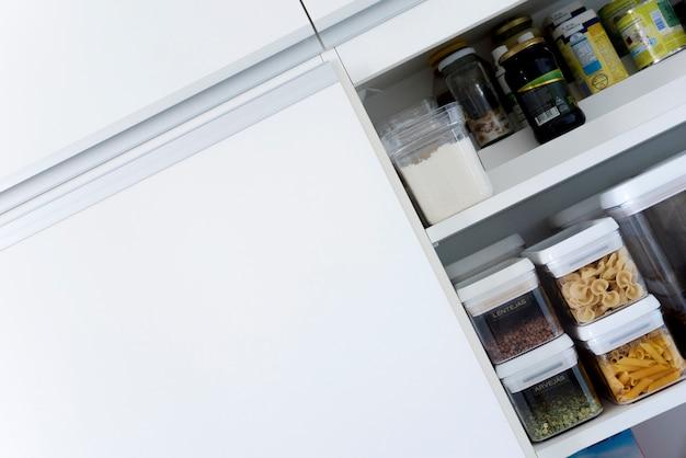 Diagonal image of kitchen cupboard Free Photo