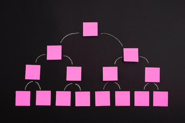 Diagram of blank sticky notes on blackboard Free Photo