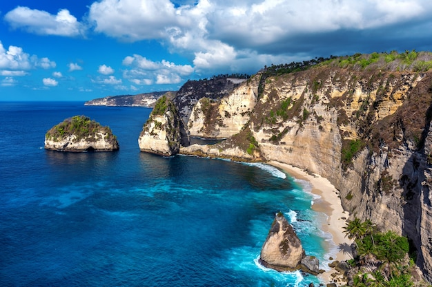 Diamond beach in nusa penida island, bali in indonesia Free Photo
