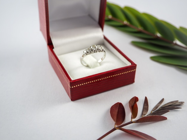 Diamond rings next to white engagement ring box in red box and leaves on white background Premium Photo