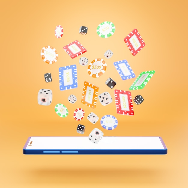Dice and gambling chips with a phone Premium Photo