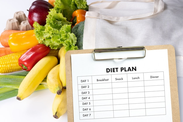 Diet plan healthy eating, dieting, slimming and weigh loss concept Premium Photo