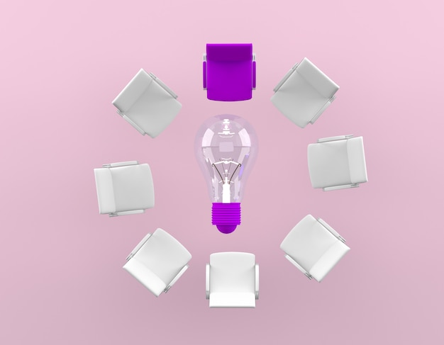 Difference of the purple chair is placed around the lamp on pink background.minimal business concept. Premium Photo