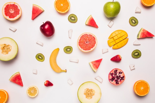 Different abstract slices of tropic fruits Free Photo