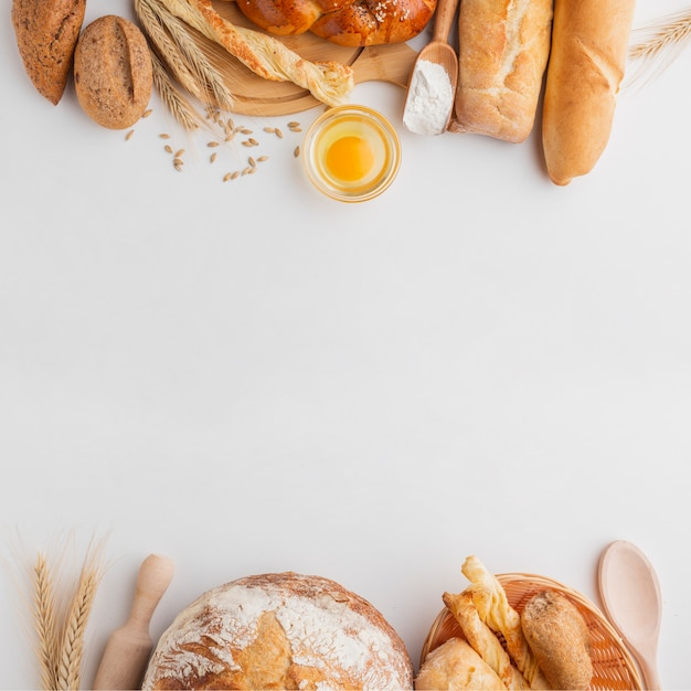 Different bread and egg Free Photo