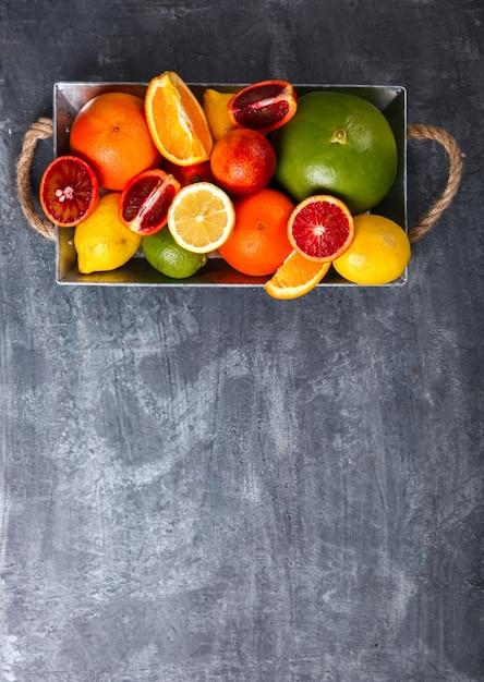 Different citrus. snack on summer parties. Premium Photo