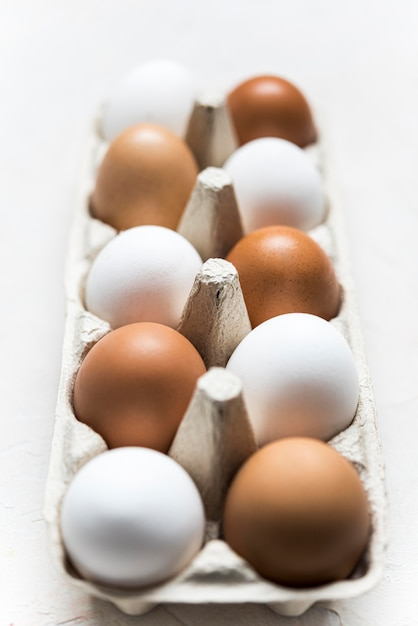 Different colored eggs arrangement Free Photo