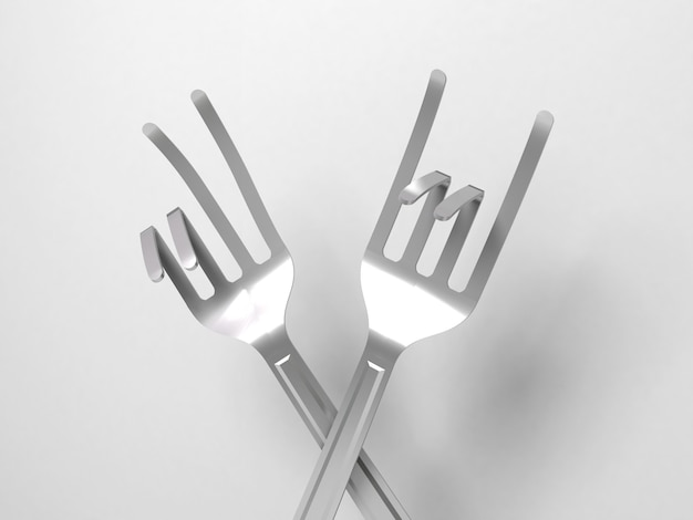Different forks bent into a variety of signs and symbols. Premium Photo