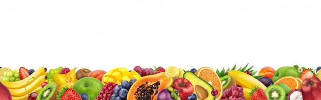 Different fruits isolated on white with copy space, border made of fruits and berries Premium Photo