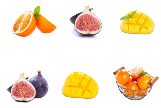 Different fruits placed in a row Free Photo