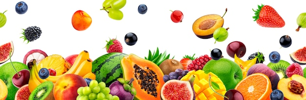 Different fruits on white background with copy space Premium Photo